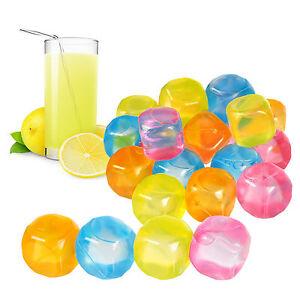 20-piezas-plastico-cubitos-de-Hielo-Multicolor-SURTIDO-Bebidas-Bar-REUTILIZABLE