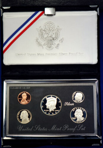 1995-s Premier SILVER Proof Set Coins in Mint Made Custom Display Box