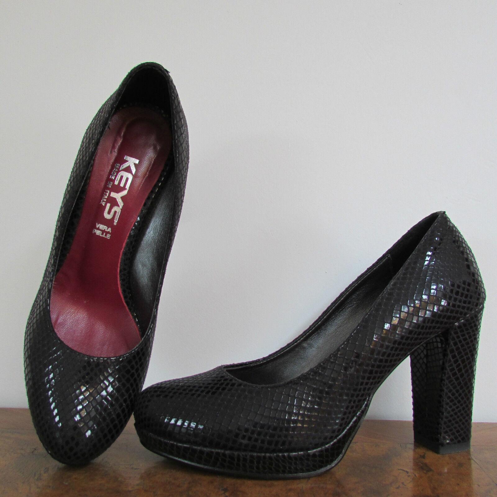 il più alla moda Scarpe Scarpe Scarpe décolleté Keys 37 pelle nera con interno bordeaux serpente  presa di fabbrica