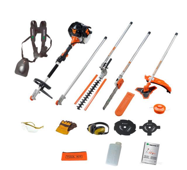 52cc 5in1 Garden Multitool Strimmer Trimmer Brush Cutter, Hedge Trimmer Chainsaw