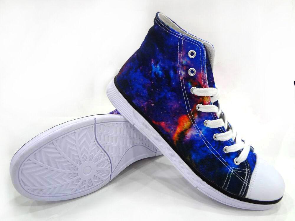 Cool Galaxy Men Women High Top Canvas shoes Casual Walking Hiking shoes Sneakers
