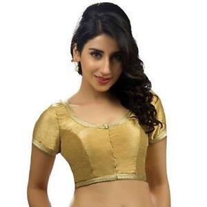 AgréAble Women's Saree Blouse Beige Prêts Bollywood Laced Bordure Or Chemisiers-afficher Le Titre D'origine Dernier Style