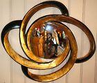 Glace / miroir sorcière mouvementé noir et patine dorée