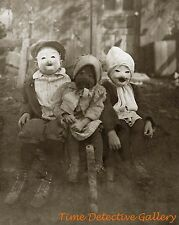 Kids in Creepy Halloween Costumes - Historic Photo Print