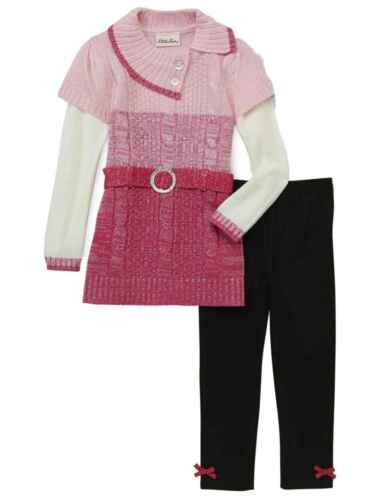 Infant /& Toddler Girls Outfit Metallic Pink Ombre Sweater /& Black Leggings