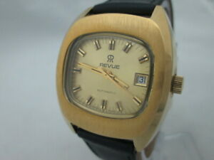 NOS-NEW-SWISS-VINTAGE-GOLD-PL-AUTOMATIC-REVUE-MENS-ANLOG-WATCH-WITH-DATE-1960-039-S