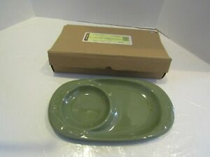 LONGABERGER-BASKET-POTTERY-WOVEN-TRADITIONS-SOUP-amp-SANDWICH-PLATE-GREEN-SAGE