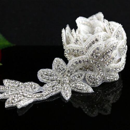 1Yard Bridal Crystal Rhinestone Applique Pearl Beaded Trim DIY Wedding Sash Belt