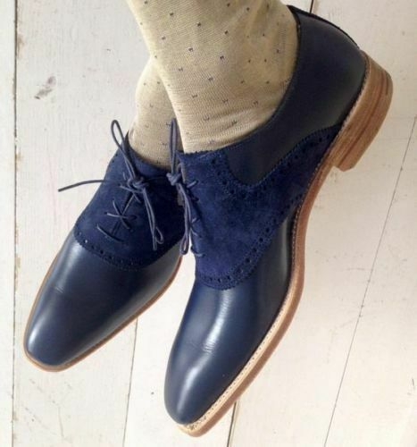 TOP QUALITY-Handmade Blau Suede & Leather Oxford Leather schuhe Men Luxury schuhe