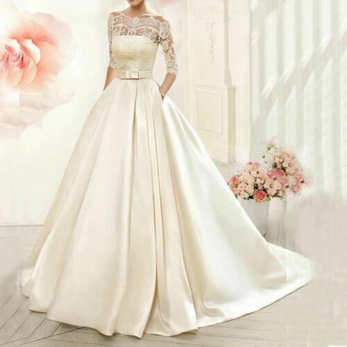 6 8 10 12 14 16 New White//Ivory A-line Wedding Dress Bridal Gown Custom Size
