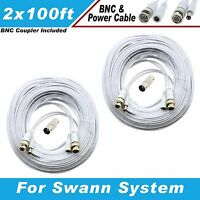 High Quality White 200ft Bnc Extension Cables F/ 8 Ch Swann Systems Dvr8-1000
