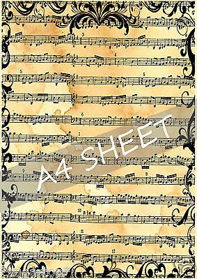 Instruments de musique feuille 1 cake topper A4 comestible glacé//icing