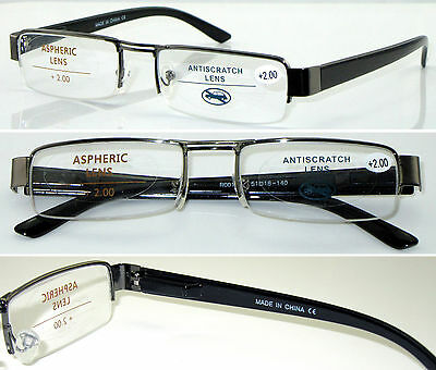 L408 Semi-Rimless Reading Glasses Spring Hinges+50+75+100+125+150+200+225+250