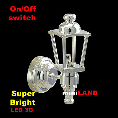 Silver Carriage Sconce bright LED LAMP Dollhouse miniature light on/off battery