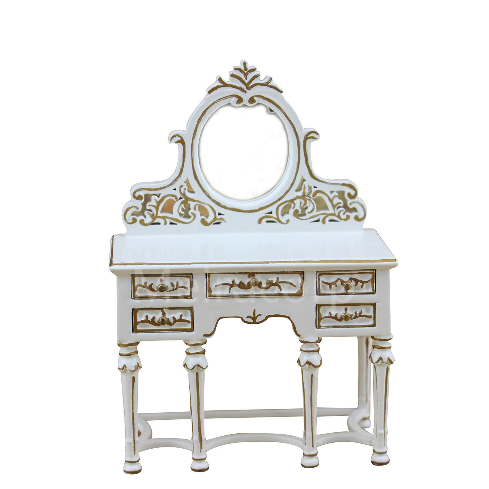Casa de muñecas en miniatura Muebles 1 12 escala blancoo hecho a mano Dorado De Tocador