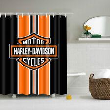 Bathroom Vanities Curtain Harley Davidson Logo Pattern Waterproof 12 Pcs Hooks