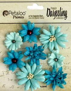 Mini-Mix-TEAL-8-Teastained-Paper-Flowers-20-35mm-across-Darjeeling-Petaloo-Ver