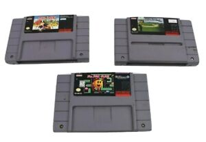 Lot-of-3-Super-Nintendo-SNES-Games-Ms-Pac-Man-Monopoly-True-Golf-Pebble-Beach