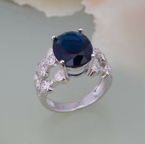Ladies Blue Sapphire 18ct White Gold GF Gift Wedding Gemstone Ring Size 8-Q