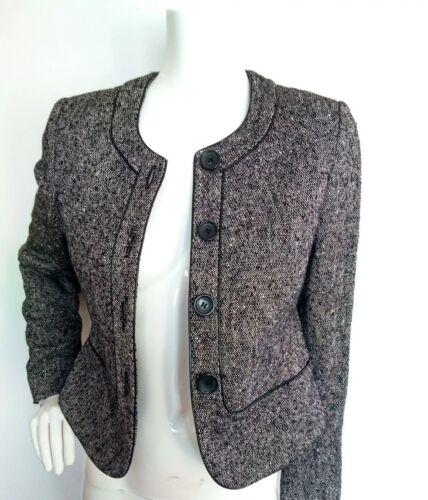 Giacca in Tweed JAEGER Lana Taglia 10 -- -- Nuovo di Zecca finiture in pelle misto lana nero