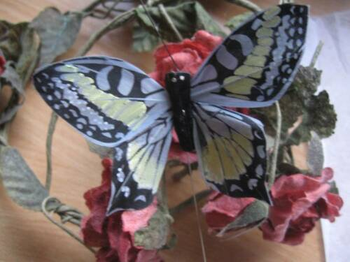 8.0 cm de envergadura Azul Gris Auténtico Estilo de pluma de Mariposa