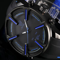 Shark Men's Quartz LED Digital Date Day Rubber Black Blue Sport Army Wrist Watch