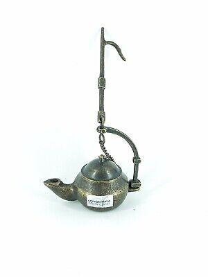 Lume lampada ad olio in ottone brunito modello spagnolo da poggiare o appendere