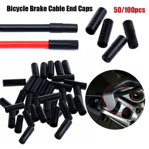 50 //100x MTB Bike Bicycle Brake Gear Outer Cable End Shift//Brake Cap Tip Crimp