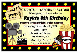 MOVIE NIGHT BIRTHDAY PARTY INVITATIONS HOLLYWOOD eBay