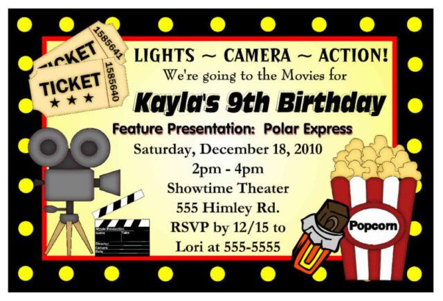 movie night birthday party invitations hollywood ebay