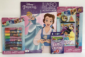 4-Disney-Princess-Jumbo-Coloring-Activity-Book-Pencil-Set-Glitter-Crayon-Markers