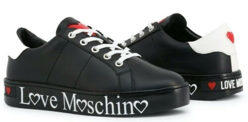 LOVE MOSCHINO Women/'s Leather Black Sneakers Shoes New 100/% Authentic