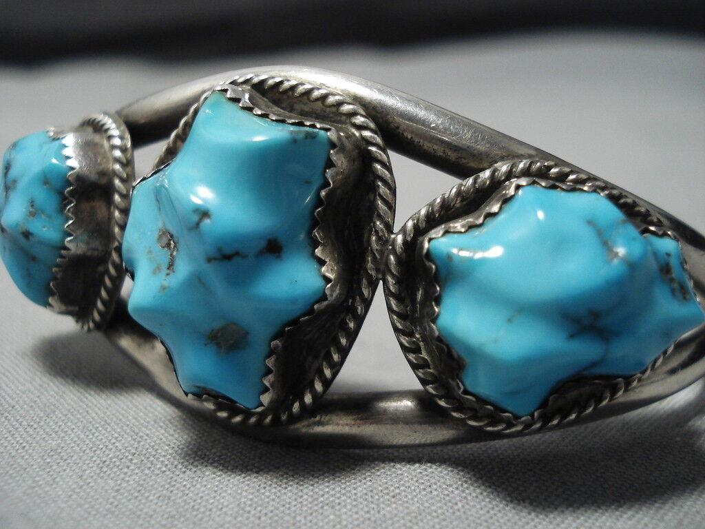 Museum Vintage Navajo Foglia Intagliato Turchese argentoo Sterling Bracciale Bracciale Bracciale Old b42d7d