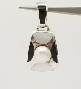 Solid-Sterling-Silver-925-Mother-of-Pearl-Black-Onyx-and-Pearl-Pendant