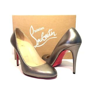 huge selection of e9a4d a0cd8 Details about CHRISTIAN LOUBOUTIN Simple Pump Gold Pewter Leather Heels  100mm 36 (MSRP $695)
