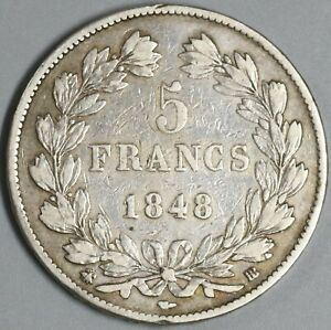 1848-BB-France-5-Francs-Louis-Philippe-Silver-Strasbourg-Crown-Coin-19122903R