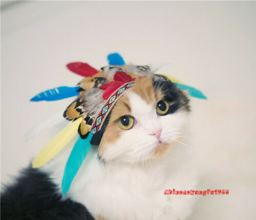 Halloween Indian Tribe Kitty Cat Dog Costume Cap Hat Hood Feather