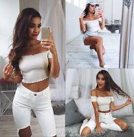 UK 6-16 Hot Womens Blouse Crop Tops Short Sleeve Shirt Jumper Vest Cami Tank Top