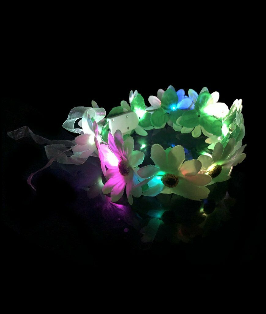 2 LED Light Up Flower Halo Crown Headband Multi Color Fairy Wedding