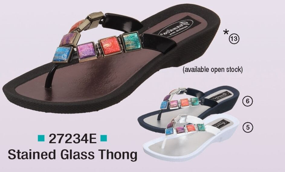 Grandco Ladies Stained Glass Flat Sandal Thong Navy 1