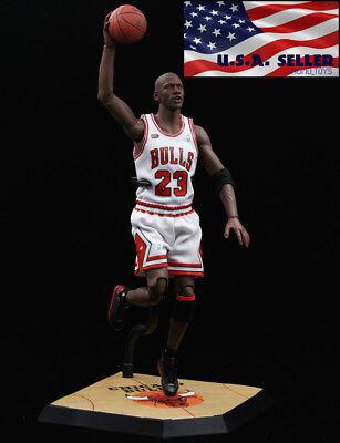 "1//6 Michael Jordan Blanc Chicago Bulls Jersey 23 pour 12/"" Enterbay Hot Toys ❶ USA ❶"
