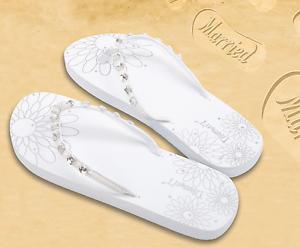 Wedding-Just-Married-Flip-Flops-Diamante-Crystals-White-Beach-Honeymoon-Diamon-039-T