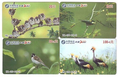 Prepaid Phonecard Chine China Telecom  4 Cartes Oiseaux Série complète