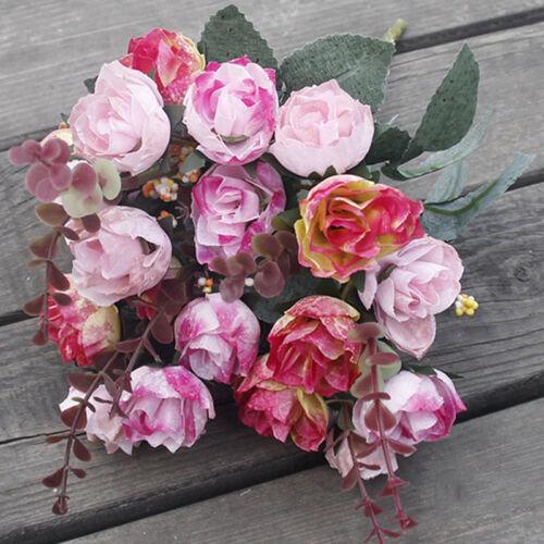 21 Köpfe Kunstseide Blumen Bund Hochzeit Home Outdoor Indoor Bouquet