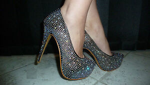 Stilettos Formelles Diamante Sexy 9 New Mariage Satin 7 8 Pearl Black Womens q4Z0Aw