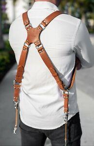 Leather-Dual-Harness-Shoulder-Strap-Two-Camera-Adjustable-Size-Light-Brown