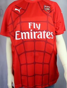 """Details about PUMA Men's """"FLY EMIRATES"""" Arsenal Dry Cell Gunners Red Shirt  Size XL"""