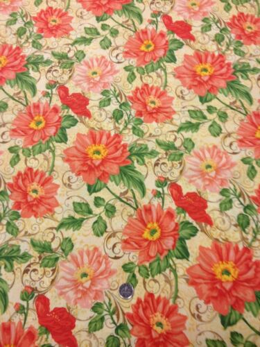 100/% Cotton quilting craft Fabric Flutter Ro Gregg Orange Pink Floral Scrolls