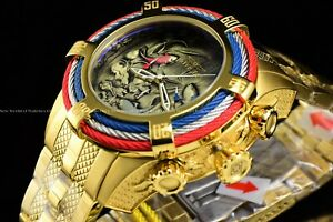 Invicta-54mm-Bolt-ZEUS-Tri-Cable-Japanese-Koi-Fish-034-Kohaku-034-Gold-Plated-SS-Watch