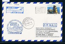 72701) LH/AA FF München - Basel Schweiz 3.9.2001, Karte ab China Taiwan